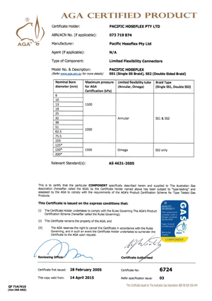 Australian Gas Assocation Metallic Flexible
