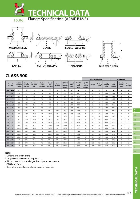 CLASS 300 (ASME B16.5)