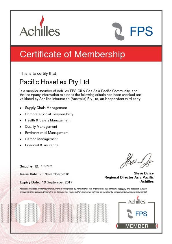 Achilles Certificate of Membership