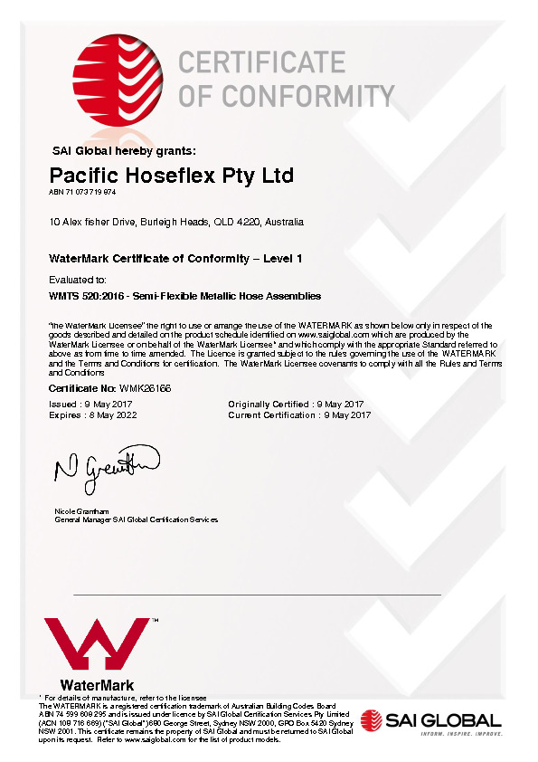 Certification Pacific Hoseflex